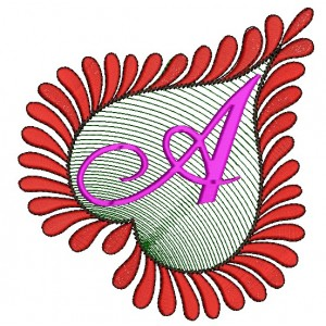 Heart Alphabets A Embroidery Design