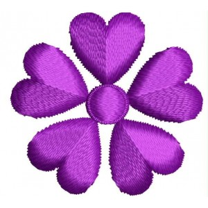 purple heart flower Embroidery Design