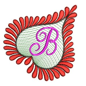 Heart Alphabets B Embroidery Design