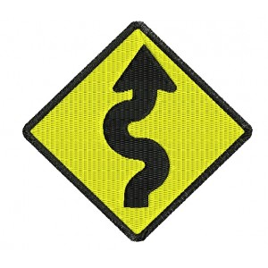 Curve Road Sign Embroidery Designs