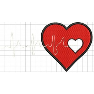 Medical Heartbeat Embroidery Designs