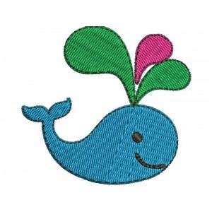 Kids Colourful Whale Embroidery Designs