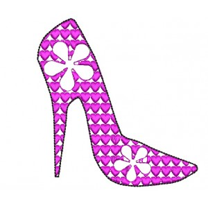 High Heel Heart Ladies Shoes Embroidery Designs