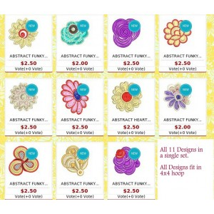 Abstract funky decor flower designs set