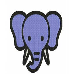 Baby Elephant Animal Face Embroidery Design