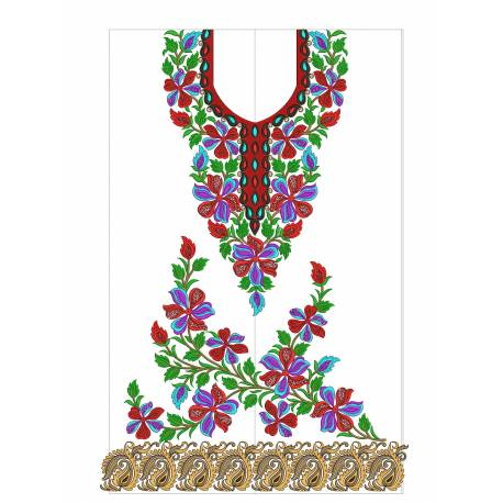 New Indian Embroidery Suit Floral Designs 3