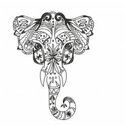 Mehndi Elephant Embroidery Design