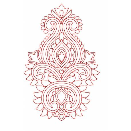 Outline Redwork Butta Design