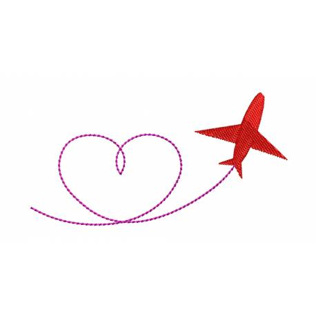 Airplane Valentine Embroidery Design