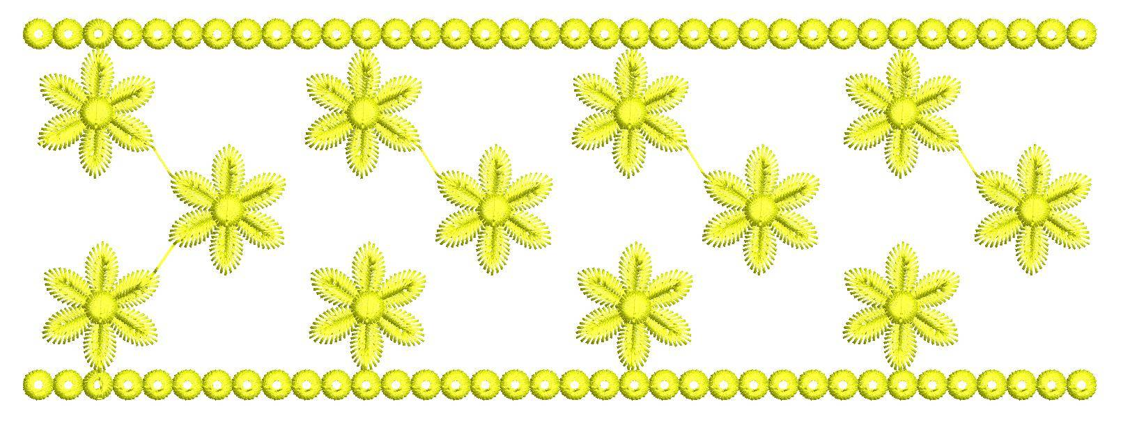 Flowers Embroidery Border Design