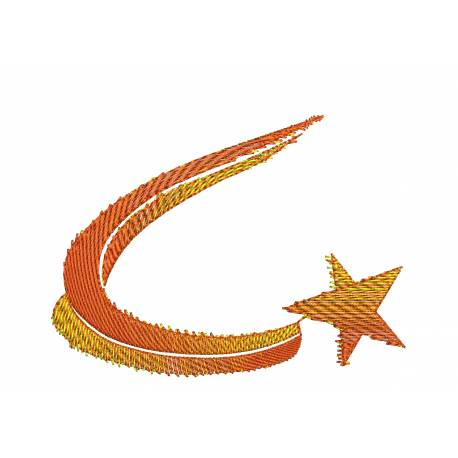 Shooting and Burning Star Embroidery Design