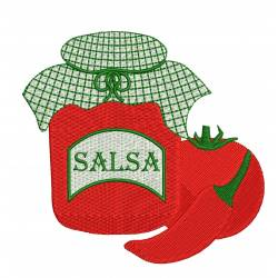 Kitchen Salsa Jar Embroidery Design