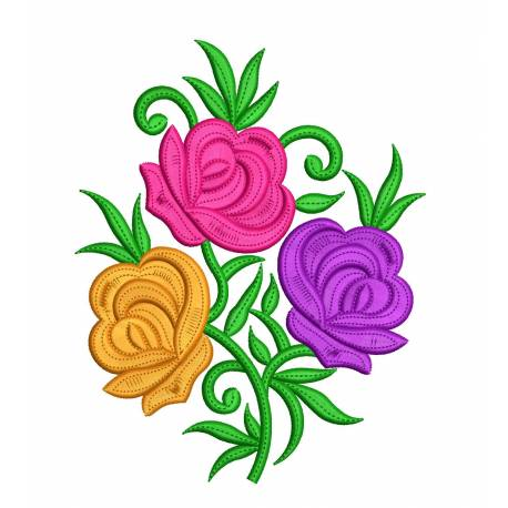 Roses Embroidery Designs 5x7