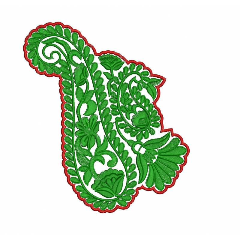 Large paisley patch embroidery design