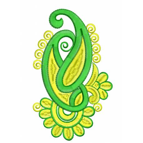 Floral Paisley Embroidery Design 5x7