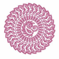 Circle Floral Outline Embroidery Design