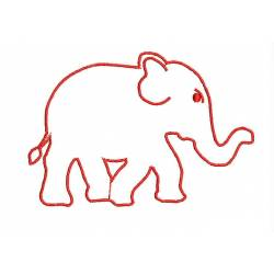 Freebie Elephant Red Outline Embroidery Design