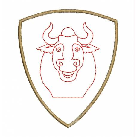 BULL Front Head Outline Embroidery Design