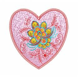 Heart Flora Machine Embroidery Design