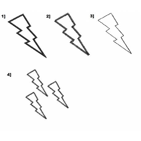 Thunder Lightning Outlines Set