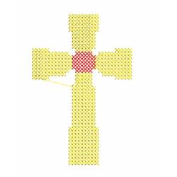 Christian Cross in Cross Stitches Embroidery