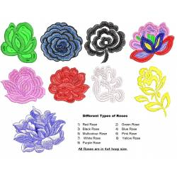 9 Different Color Rose Flowers Set