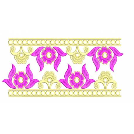 Flower Neckline With Two Borders Embroidery Set
