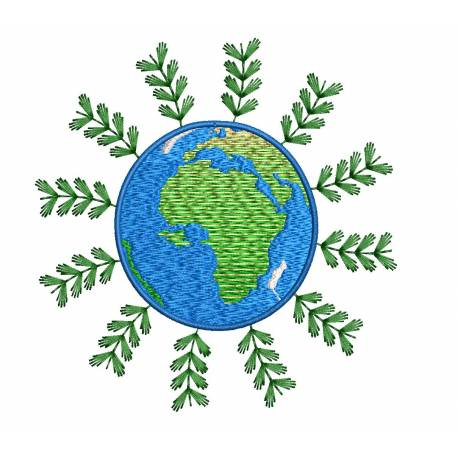 Green Earth Embroidery Design