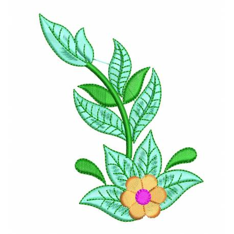 New Flower With Leaves Flora Embroidery Design