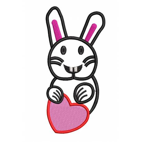 Outline Bunny Heart Embroidery Design