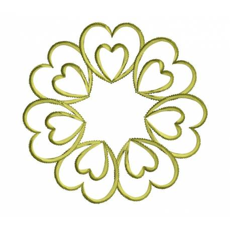 Heart Flower Outline Embroidery Design