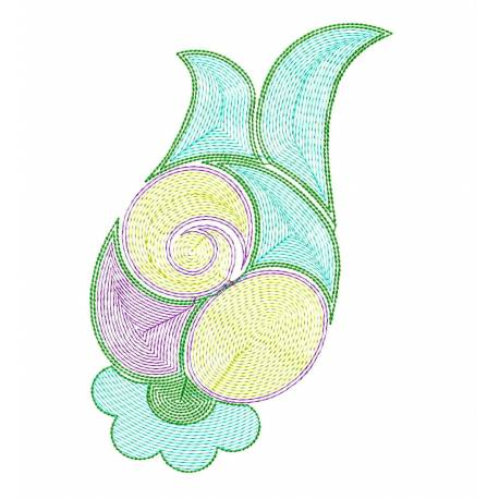 5x7 Latest Flora Outline Embroidery Design