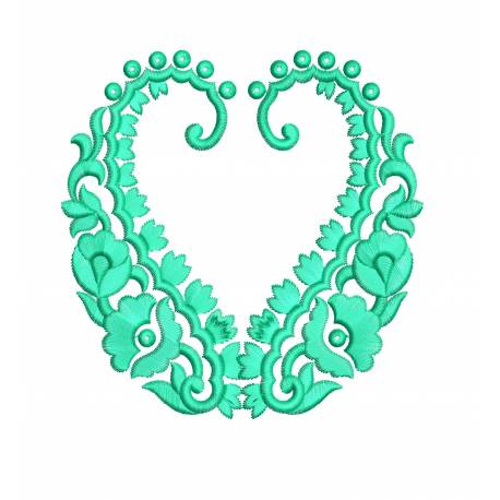 Latest Heart Floral Embroidery Design5x5