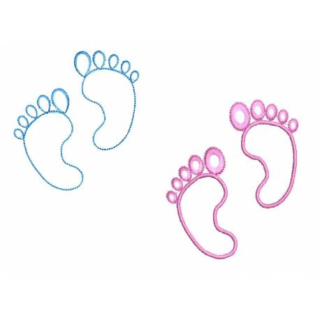 Baby Footprint Outlines Embroidery Designs Set