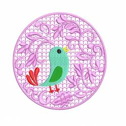 Bird with Circle Floral Embroidery Design