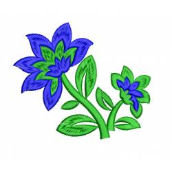 Blue Flowers Embroidery For Kitchen Towel