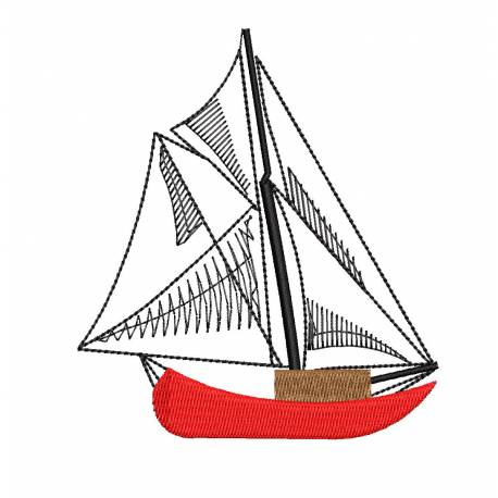 Yacht Outline Machine Embroidery Design