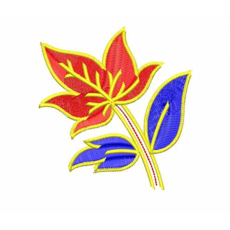 Colorful Leaves Floral Embroidery Design