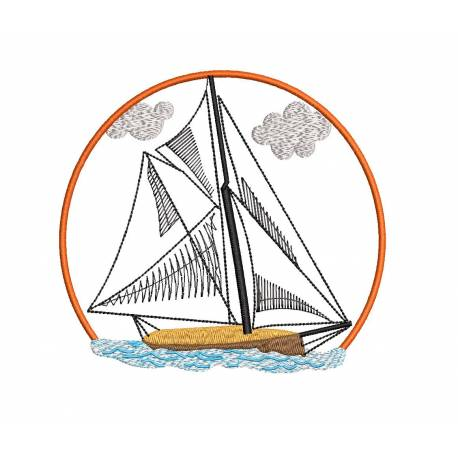 Sailing Boat With Frame Embroidery Design
