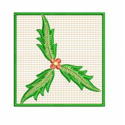 Leaf Floral With Square Outline Embroidery