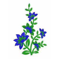 Large 6x10 New Blue Flora Machine Embroidery