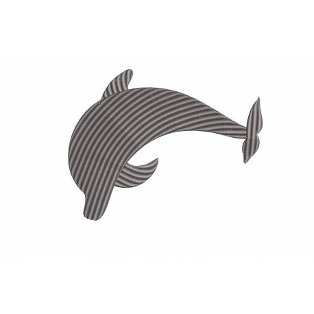 Striped Dolphin Silhouette Embroidery Design